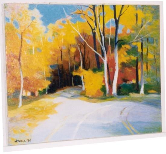 Tadashi Asoma Original Oil Painting Country Road Autumn