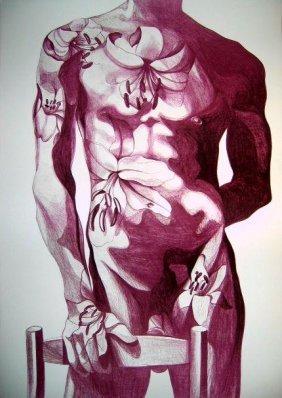 Lowell Nesbitt Signed Art Print Litho 1979 Gay Nude 6