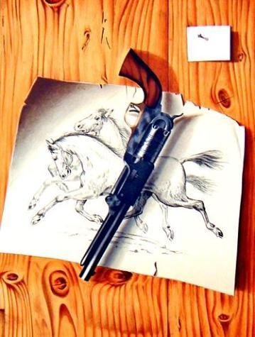 Burley-Viennay LE REVOLVER Western Style Art Print