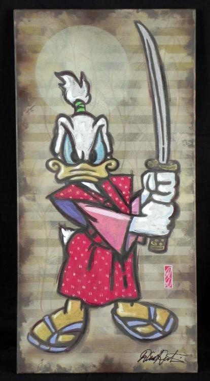 Dick Duerrstein Original Painting Donald Duck Samurai