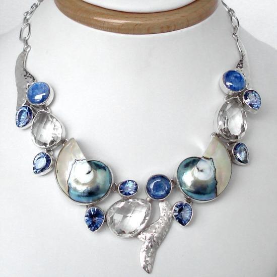 Superb ARTISAN BLUE NAUTILUS SHELL KYANITE TOPAZ AND ST