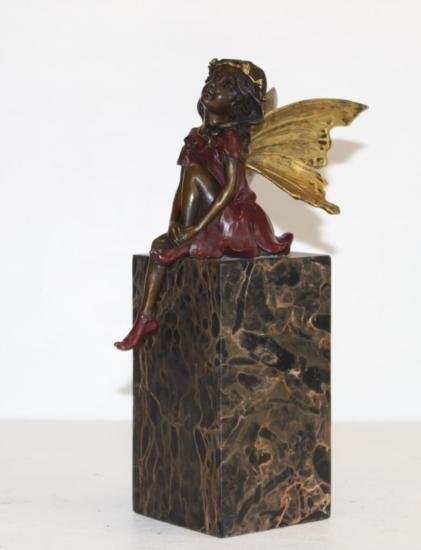 Gorgeous Sitting Fairy Hand Painted Bronze Sculpture