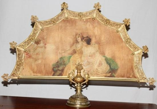 Mid 18th Century HAND PAINTED SILK & BRONZE FIREPLACE