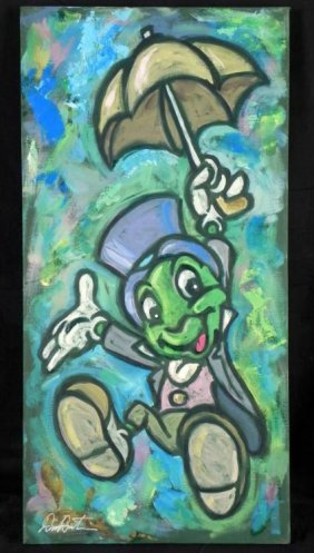 Dick Duerrstein Orig Painting Jiminy Cricket W/Umbrella