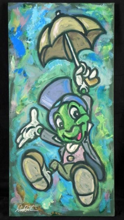 Dick Duerrstein Orig Painting Jiminy Cricket w/Umbrella