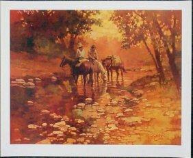 LE Ray Burdzinski Trail Riders Cowboy Horses Art Print
