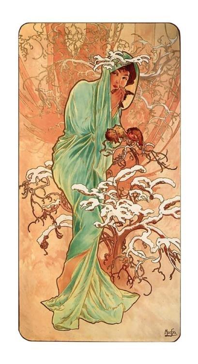 Alphonse Mucha : Winter Art Print