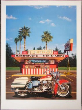 James Gucwa BILL & WANDA'S Retro Harley Motorcycle Art