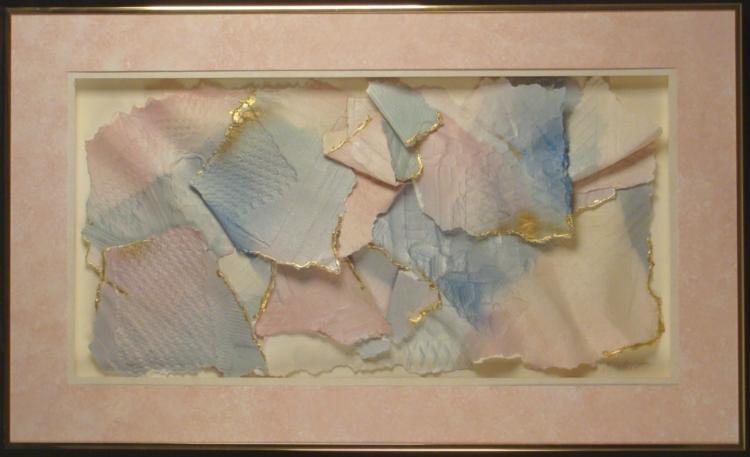 M. Stillers Signed Big Pastel Paper Art Collage Framed