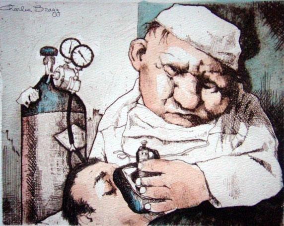 Charles Bragg Signed Medical Suite Art Print Gas Man