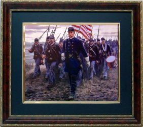 Mort Kustler Civil War Print Frmd Gettysburg 20th Maine