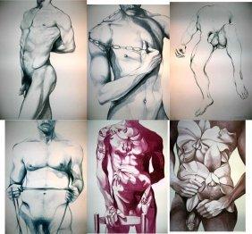 6 Lowell Nesbitt Signed Art Prints Set Gay Nudes 1979