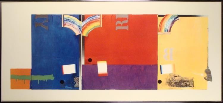 Large Pop Art Colorful Rainbow Collage Print