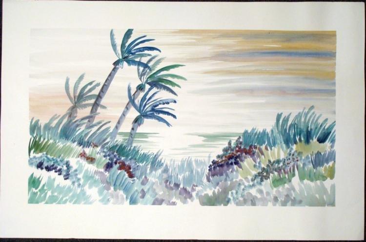 Original Watercolor Painting Tropical Island Landscape