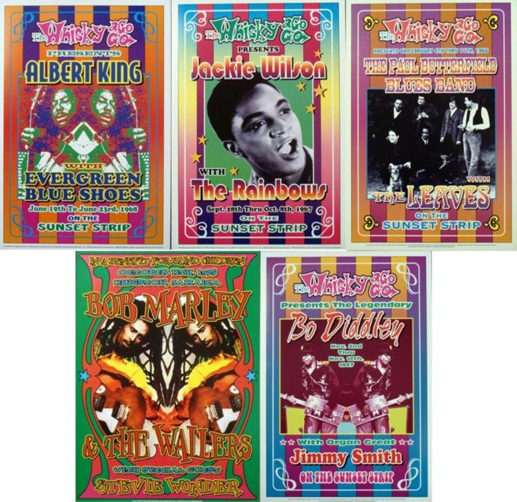 5 Soul & Blues Repro Concert Posters Bo Diddley, Wilson