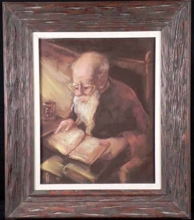 Original Drawing Old Man Reading Scripture Framed