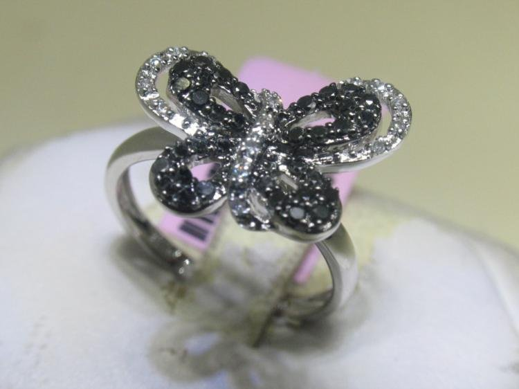 .07 CT Diamonds & .45 CT Black Diamonds Butterfly Ring