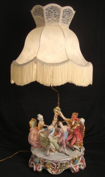 Rococo Ladies Big Porcelain Figural Antique Lamp Italy