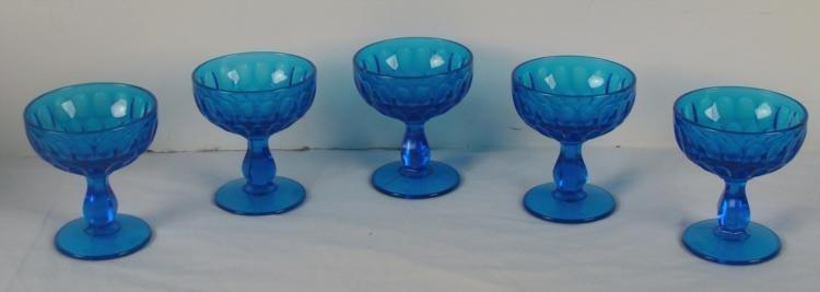 Fenton Glass 5 Colonial Blue Thumbprint Sherbet Set
