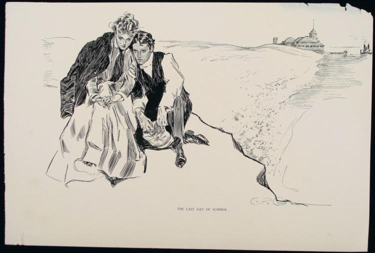 Charles Gibson Orig Book Print 1896 Last Day of Summer