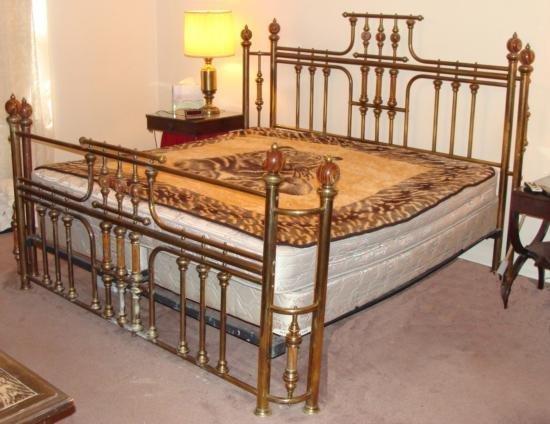 Vintage Brass & Marble Poster Bed King Size Frame