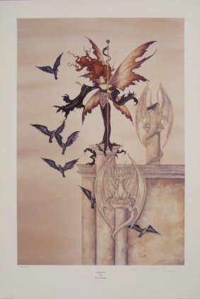 Summons Amy Brown Signed Fantasy Art Print Lady & Crows