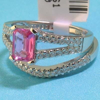 .85CT Pink Sapphire & .55 CT Dmnd 18K WG Ring, Band Set