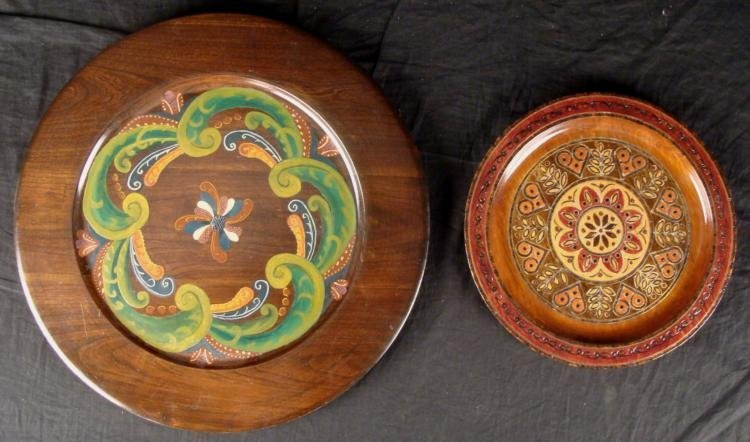 2 Decorative Hand Painted Wooden Platters Poland