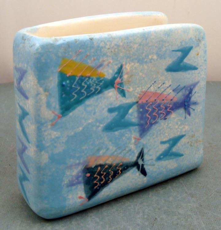 Hand Painted Ceramic Tropical Fish Napkin Holder Decor