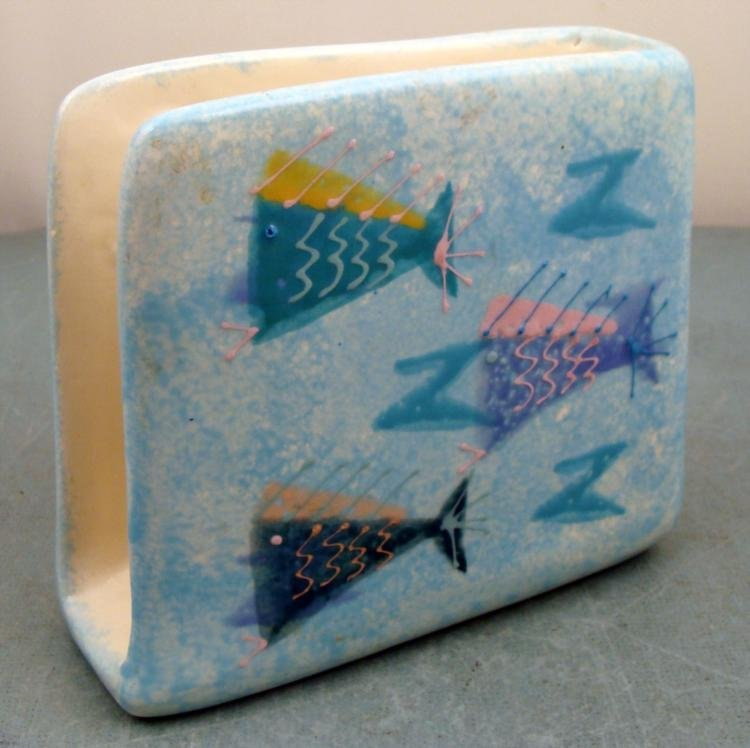 Hand Painted Ceramic Tropical Fish Napkin Holder Decor - 2