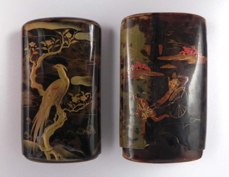 2 Chinese Vintage Hand-Painted Cigarette Cases