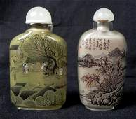 2 Antique Chinese Reverse Painted Perfume Bottles 1940s