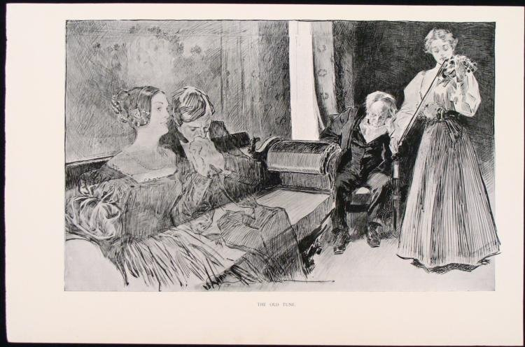 Charles Gibson Orig Book Print 1896 The Old Tune