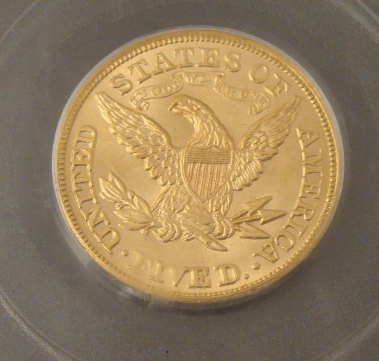 1879 Gold $5 Coin PCGS MS 63 - 3