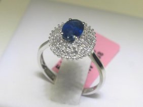 .96 CT Blue Sapphire And .32 CT Diamonds 14K WG Ring