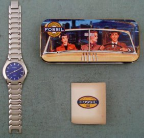 Fossil Mens Stainless Steel Watch Blue Dial Tin Box MIB