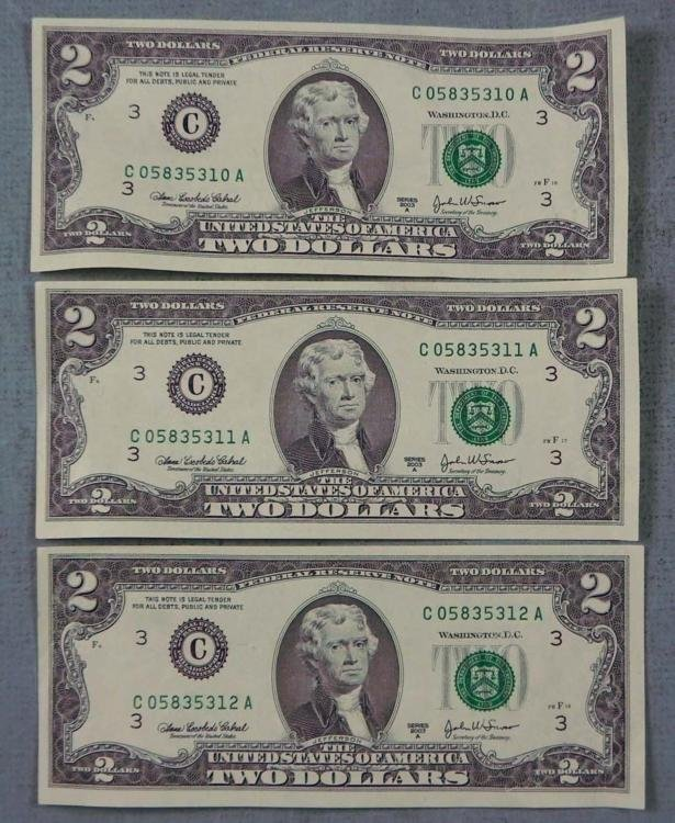 3 Consec # 2003 A $2 Notes C Mint Philadelphia Bills CU