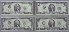 4 Star Notes 1976 $2 Bills G Mint Chicago