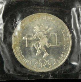 Mexico 1968 Olympic Silver 25 Pesos Orig Wrap Gem UNC