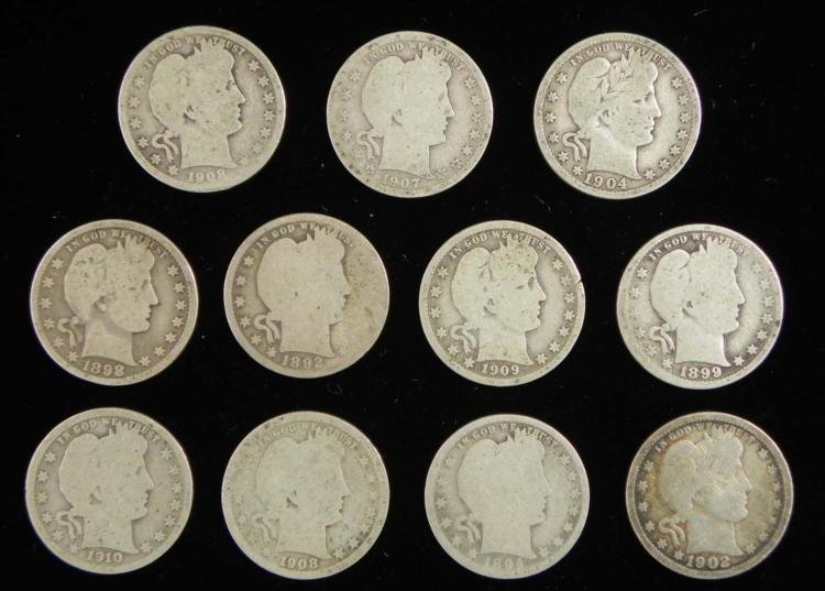 11 Diff Date Barber Quarters 1892-1910 Full Dates, Nice
