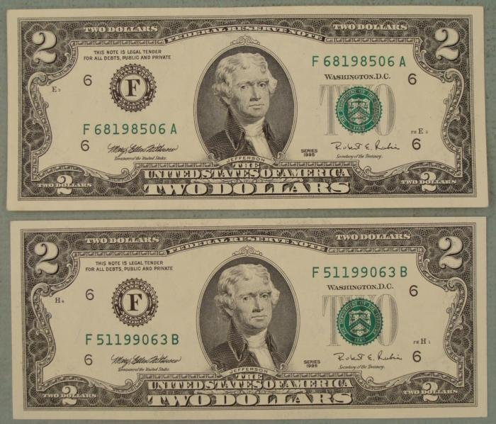 (2) 1995 CU F Mint $2 Dollar Bills Notes Atlanta