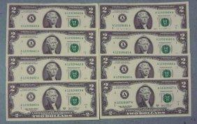 8 Consec # CU 2003 A $2 Bills Notes Boston Mint