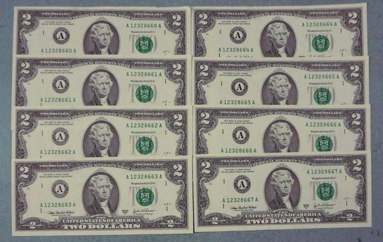 8 Consec # CU 2003 A $2 Bills Notes Boston Mint