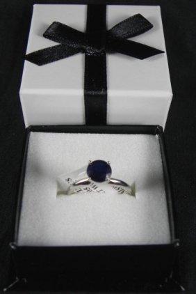 1.05 Carat Sapphire 14K White Gold Ring