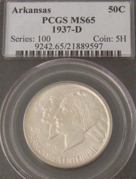 Arkansas 1937-D Half Dollar 50C Coin PCGS MS 65