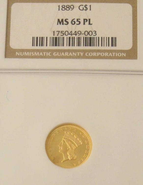1889 Gold $1 Coin NGC MS 65 PL