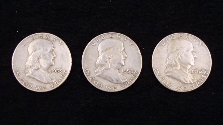 3 Dif Date Franklin Silver Half Dollars 1953D, 58D, 62D