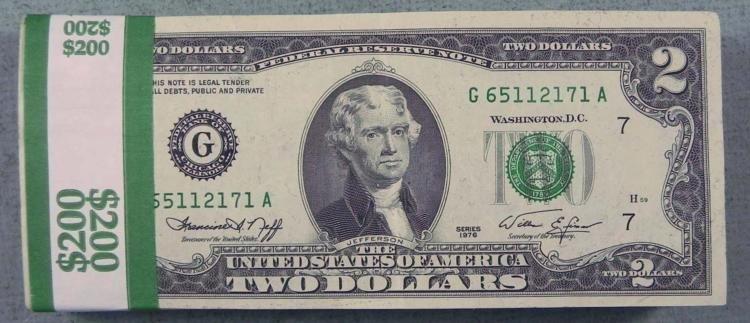 100 $2 Two Dollar Bills G Mint Chicago - Nice, Many UNC