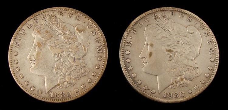 1880 & 1880-O Morgan Silver Dollars