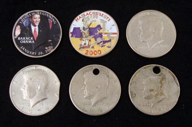 6 Kennedy Half Novelty Coins Clipped Obama Mass Holed